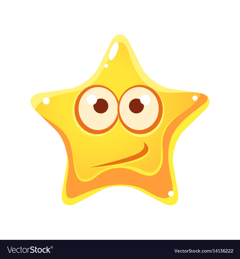 Confused emotional face of yellow star cartoon