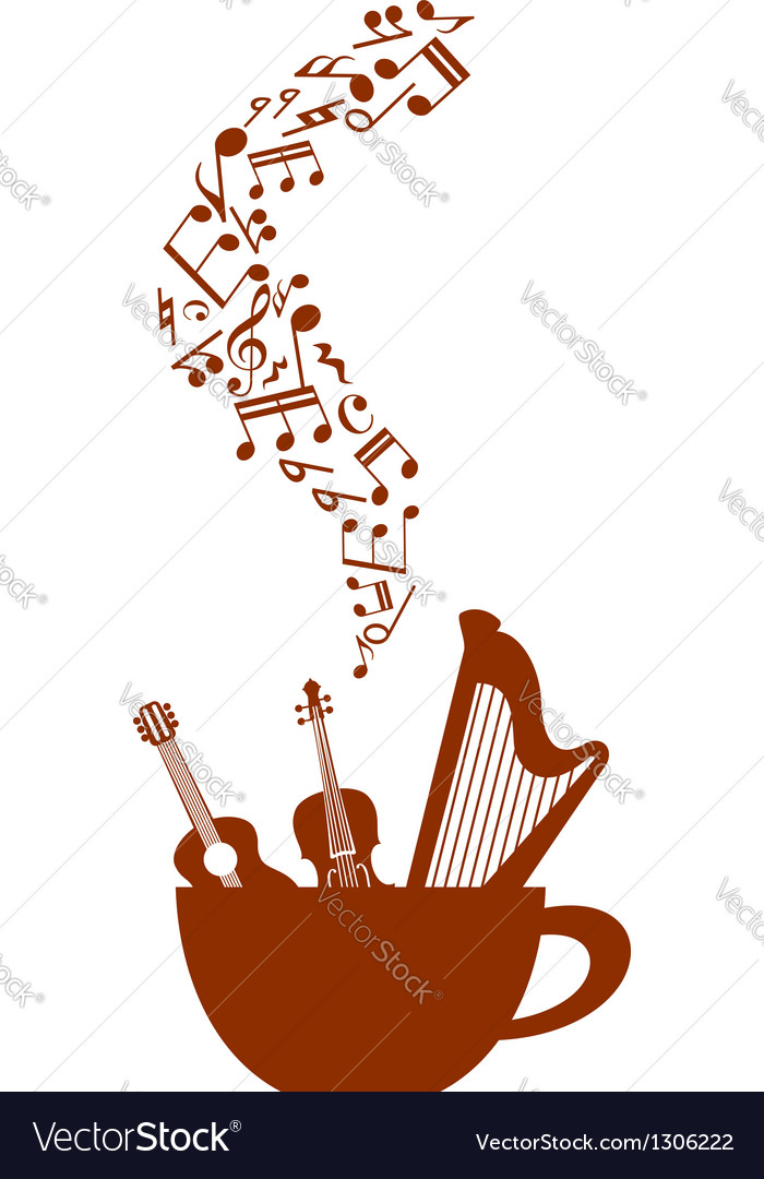 Cup of coffee with musical elements vector image