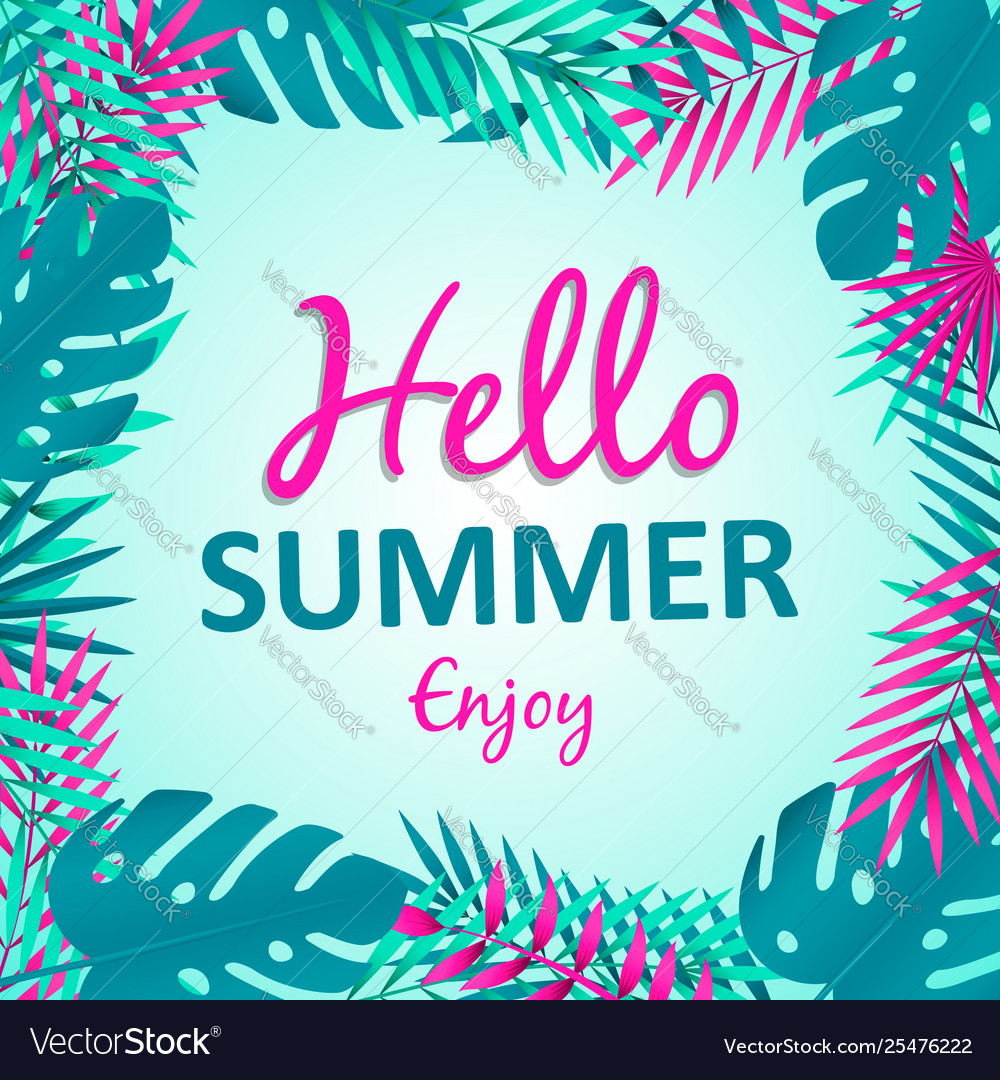 Hello summer card tropical palm tree leaves