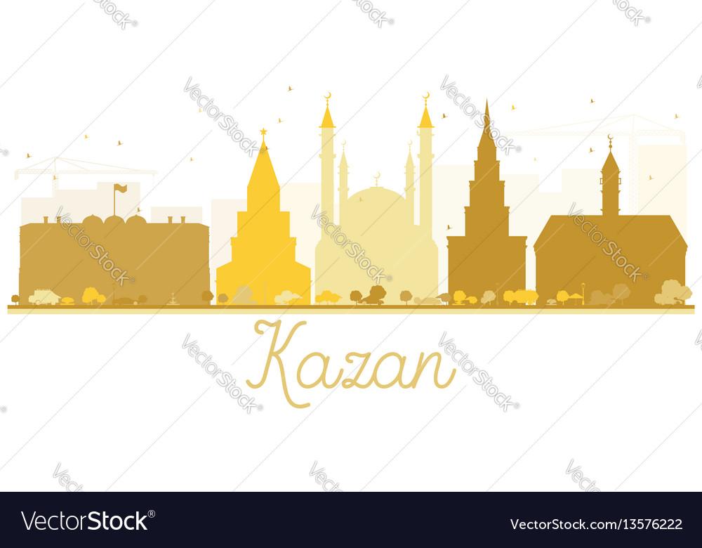 Kazan city skyline golden silhouette