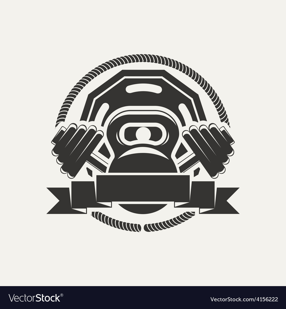 Kettlebell and dumbbell logo vector image