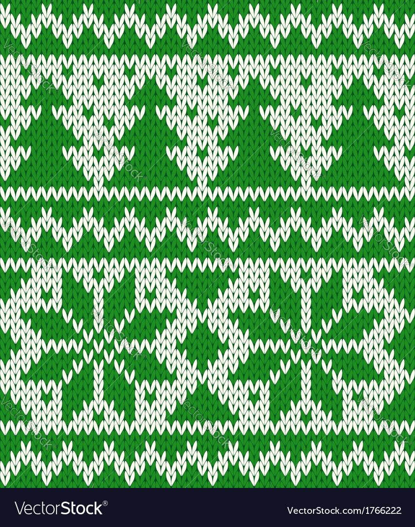 Knitted seamless pattern with fir-trees and stars vector image