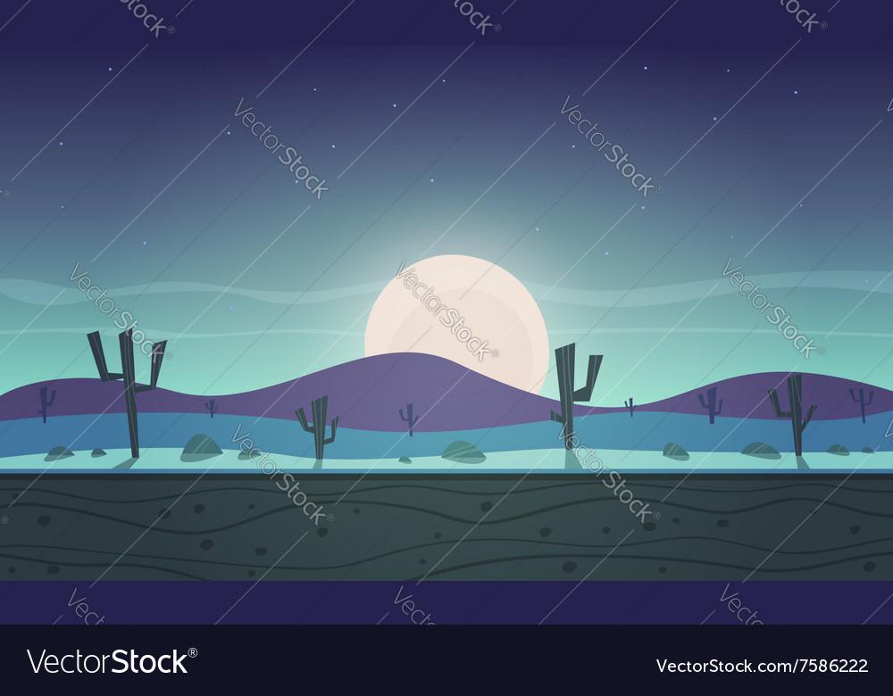 Night desert cartoon game background