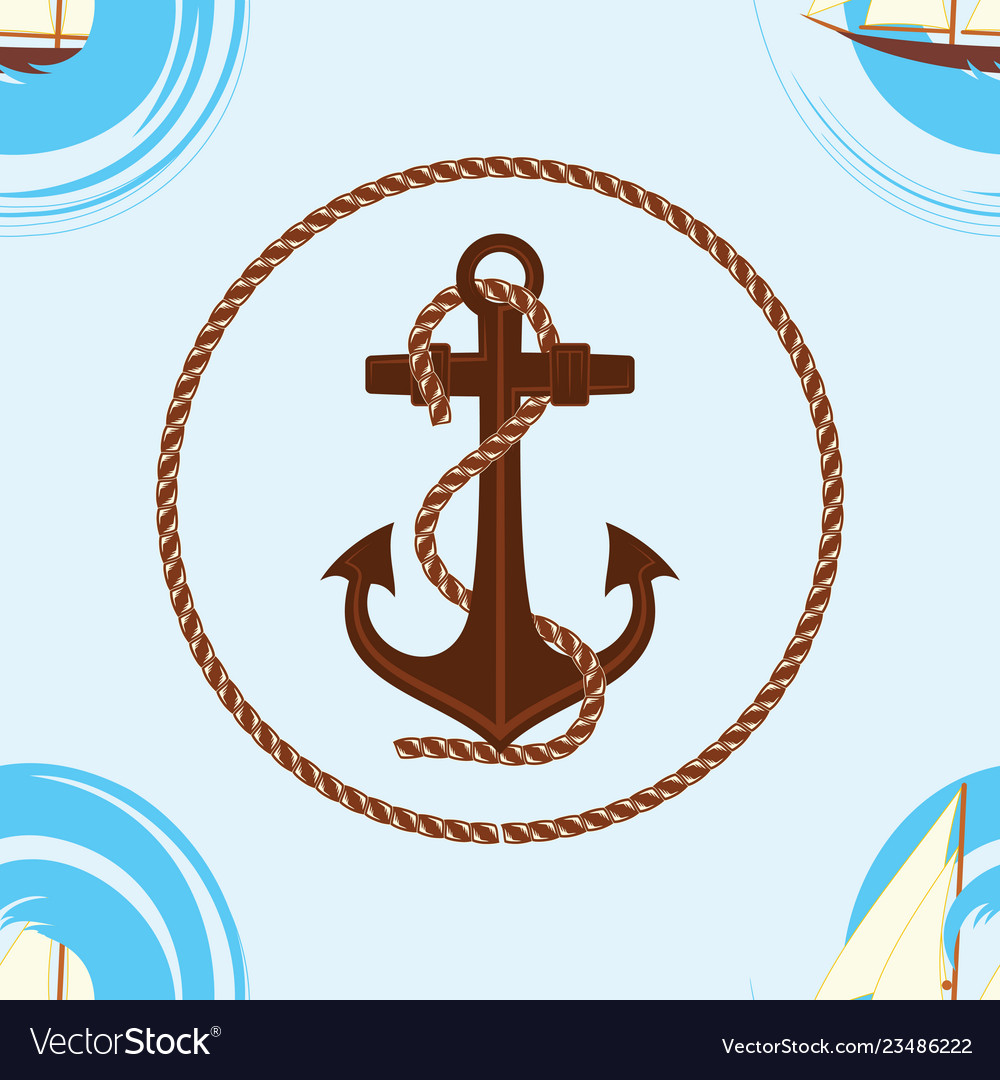 Pattern 0104 1 sailing ship wave and an anchor