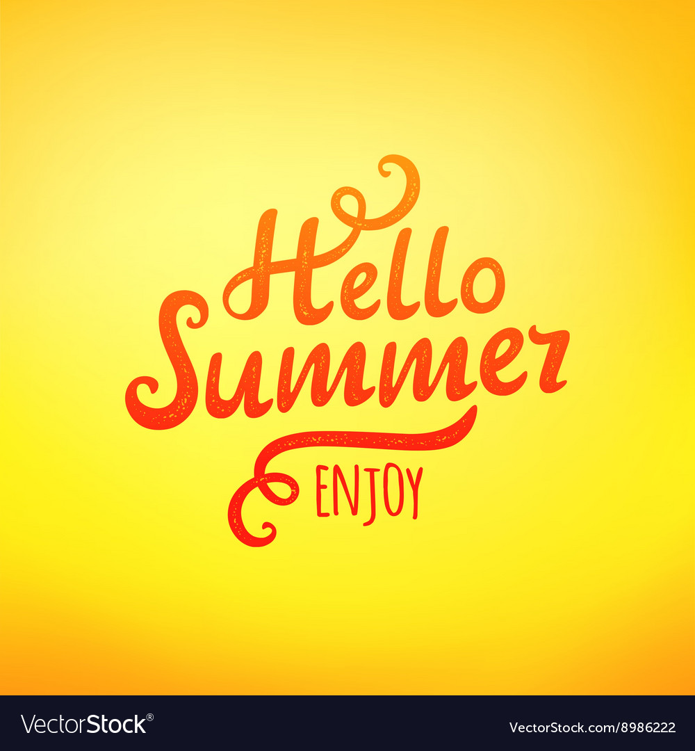 Phrase Hello Summer typography inscription