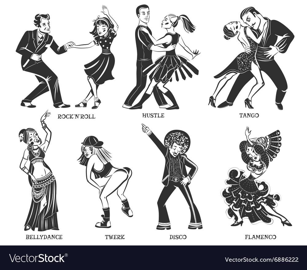 Popular Native Dance Black Icons Set