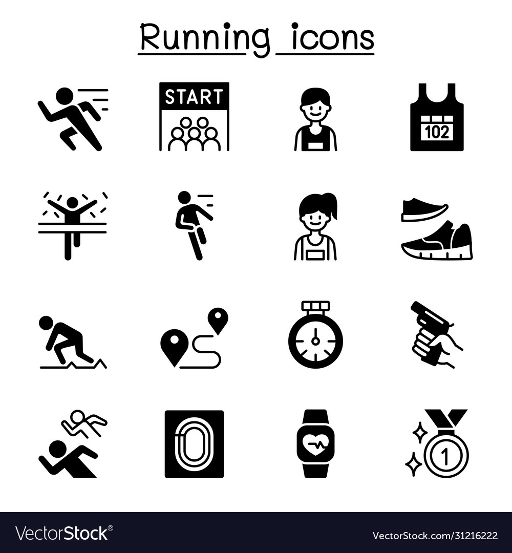 Running competition icon set graphic design