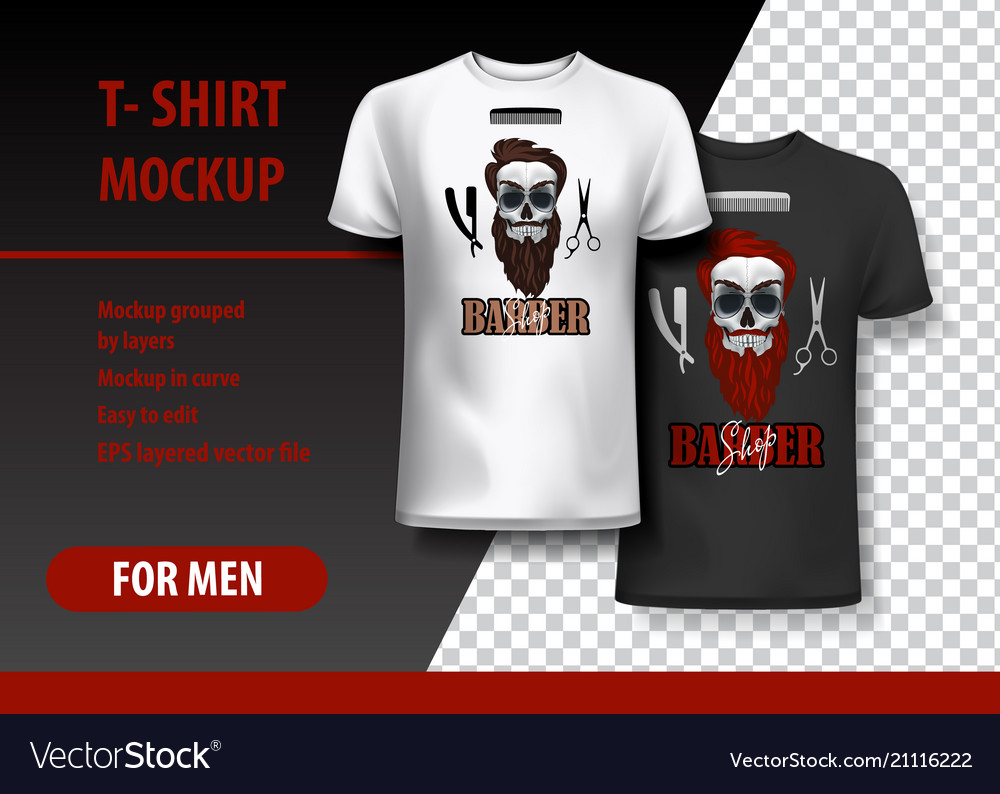 da181f0e T-shirt template fully editable with barber shop Vector Image