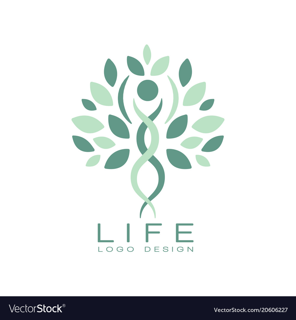 Abstract life logo design with green leaves and
