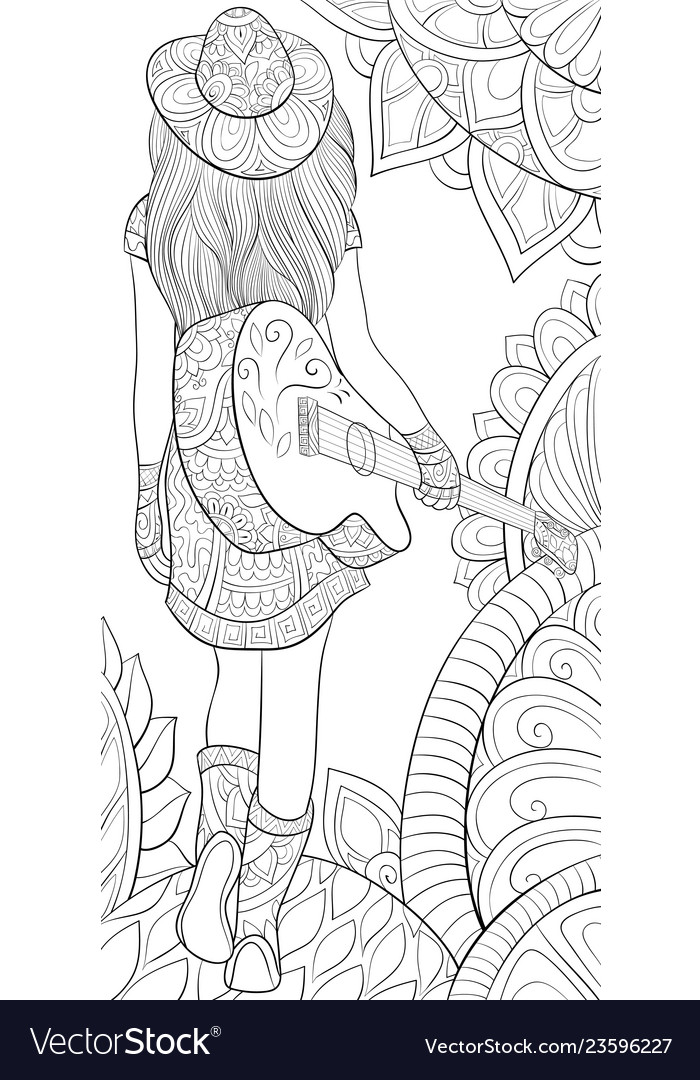 Adult coloring bookpage a girl with a guitar
