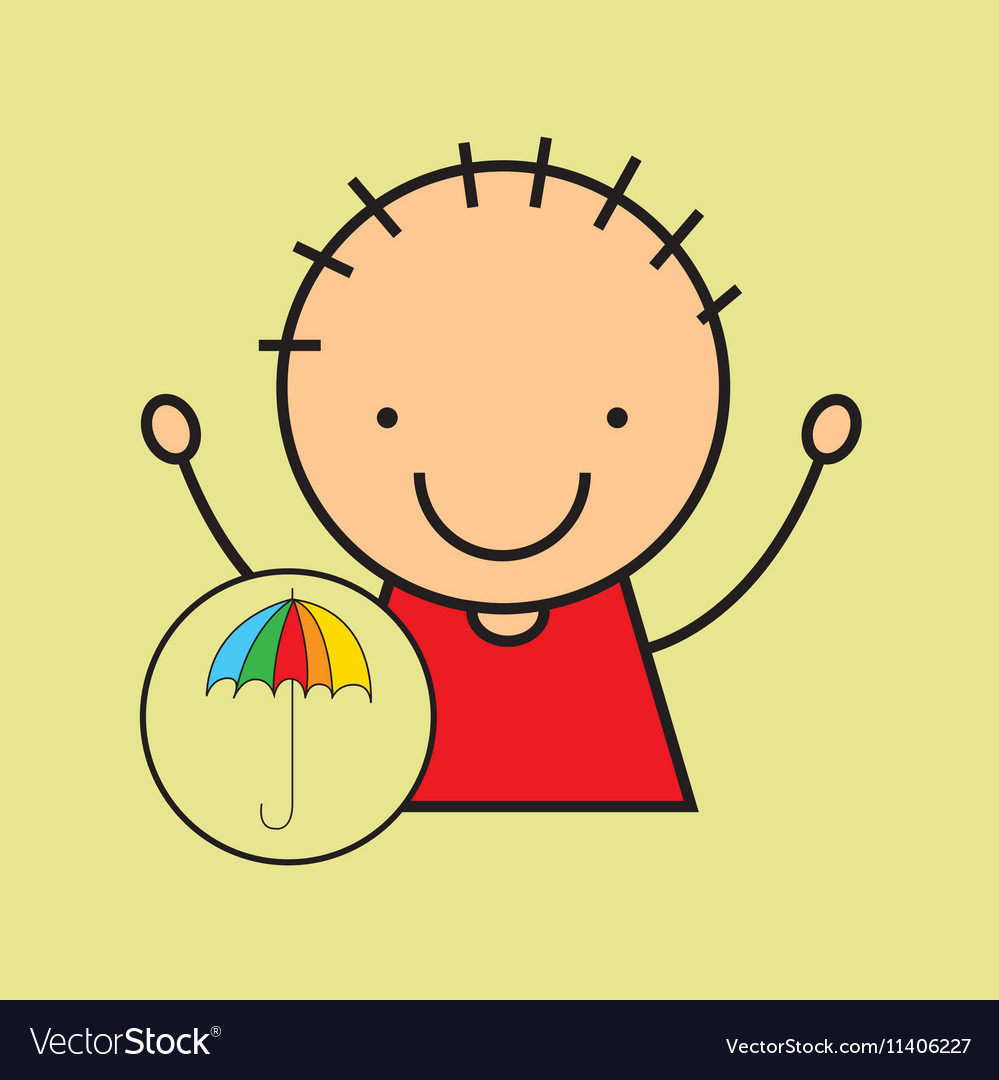Cartoon boy happy colors umbrella vector image