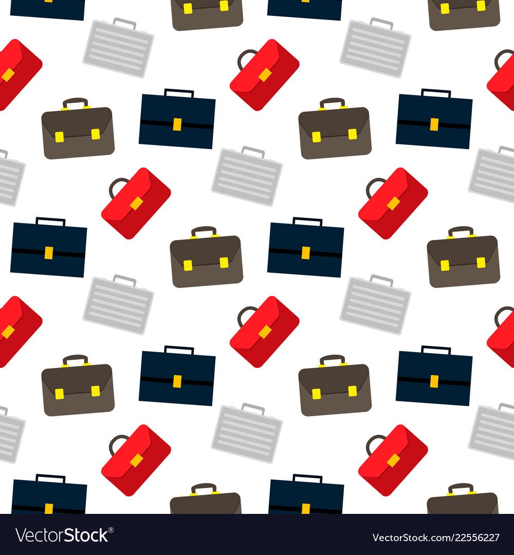 Cartoon business suitcase seamless pattern on