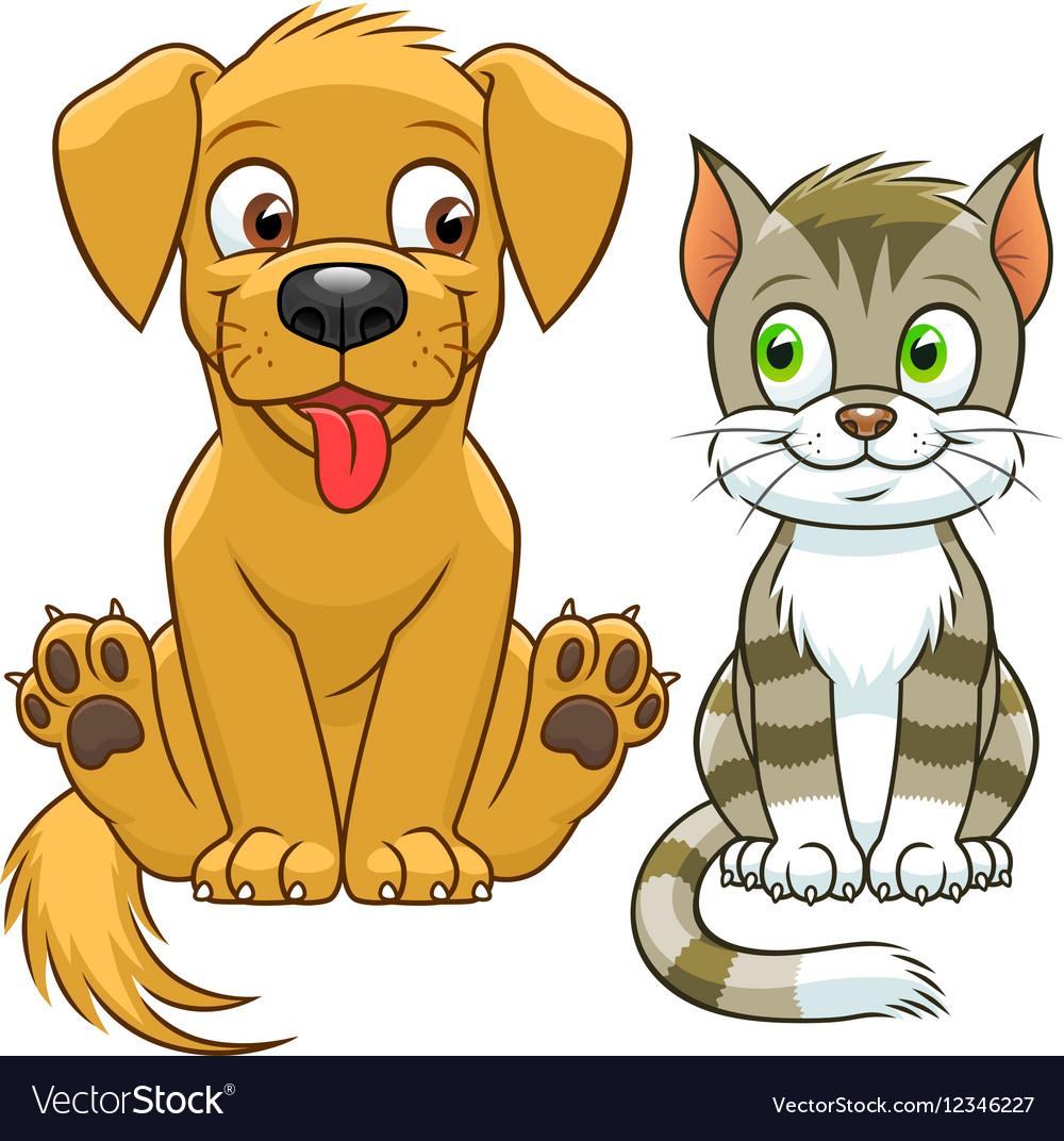 Cute Cartoon Cat And Dog Royalty Free Vector Image