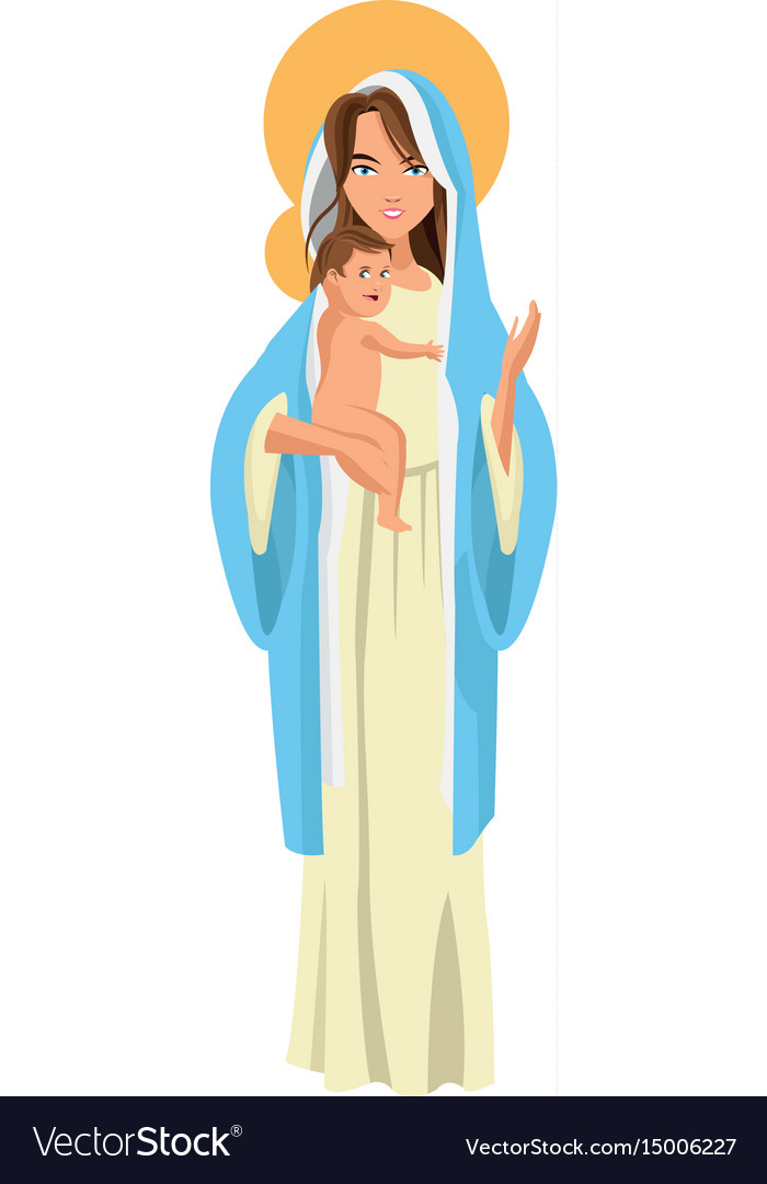 Cute virgin mary holding baby jesus cartoon