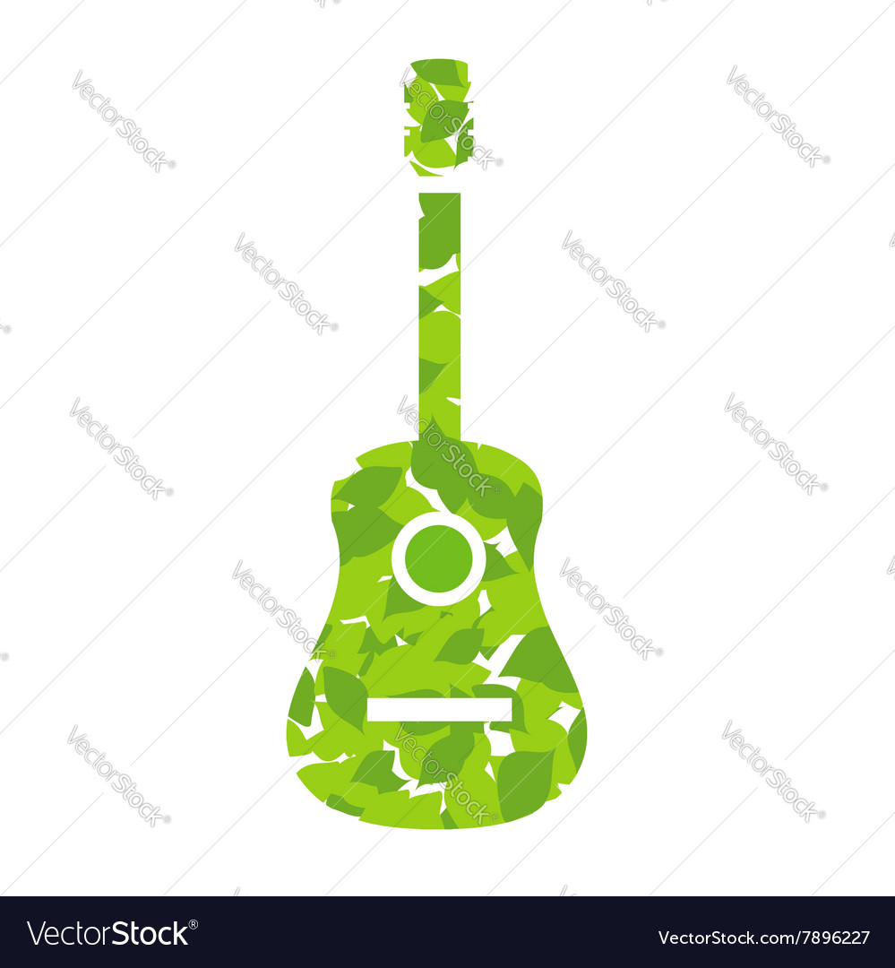 Guitar with green leaves