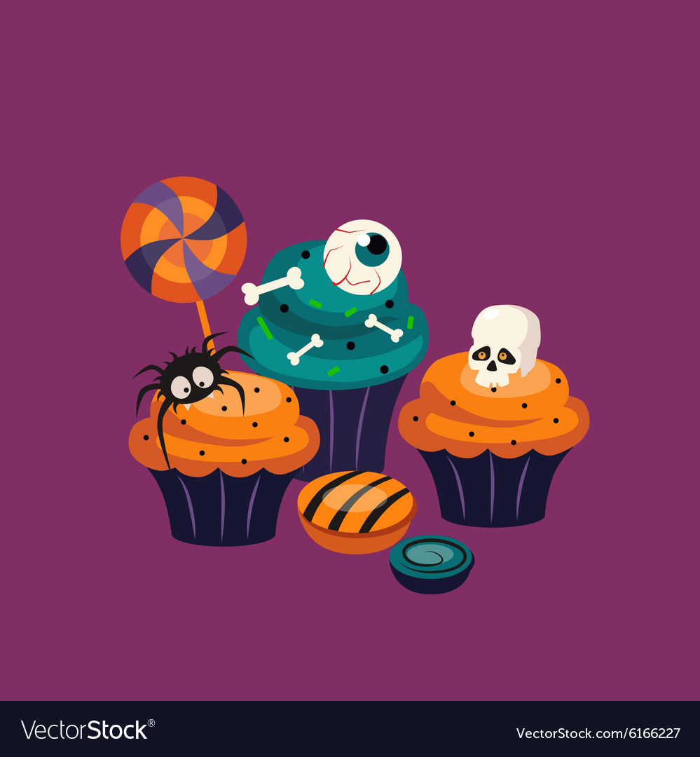 Halloween Sweets And Decorated Cupcakes Royalty Free Vector