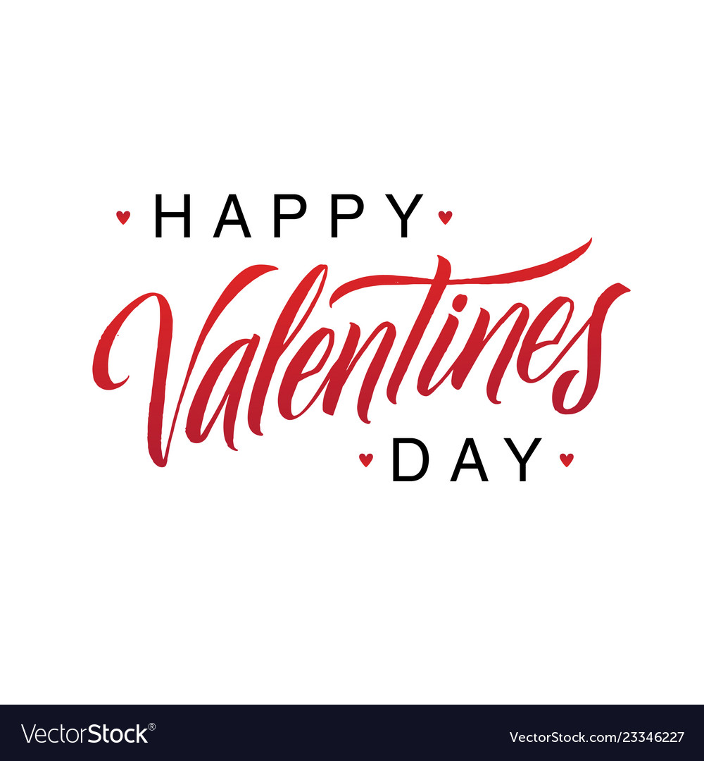 Happy valentines day black and red lettering white