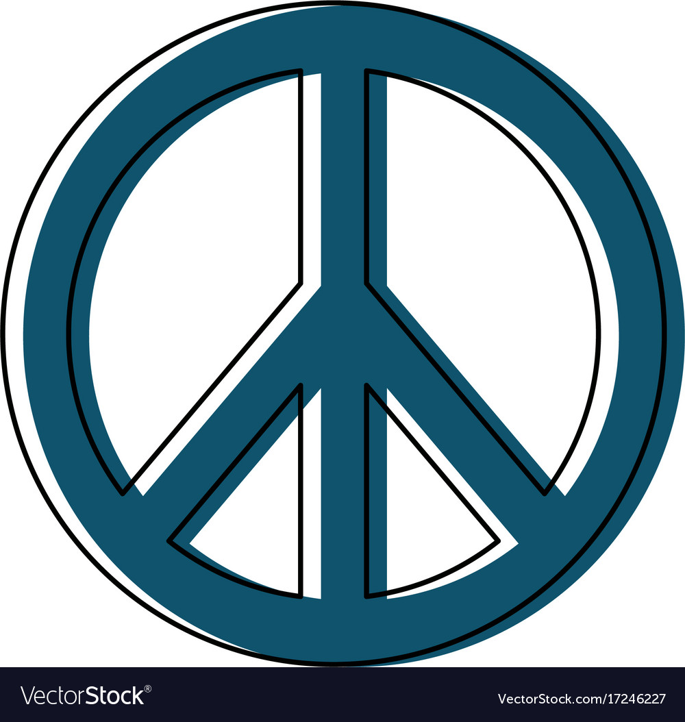Hippie Peace Love Circle Button Element Symbol Vector Image