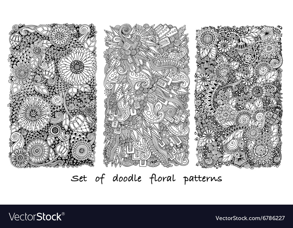 Set of doodle pattern with flowers and paisley