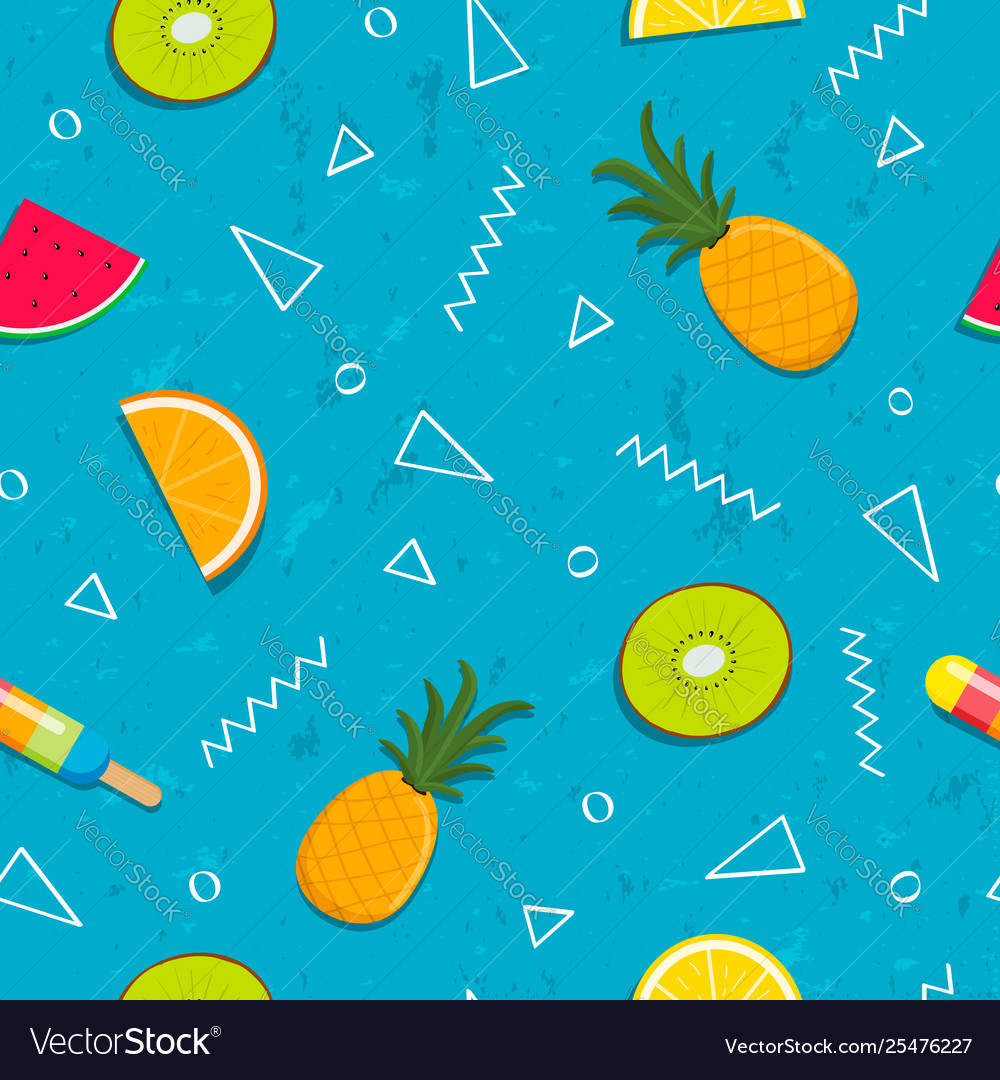 Tropical summer fruit seamless pattern background