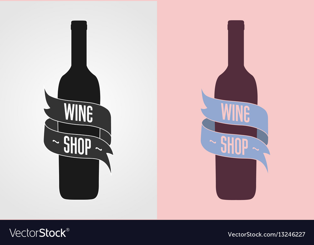 Wine shop logo badge label concept gray