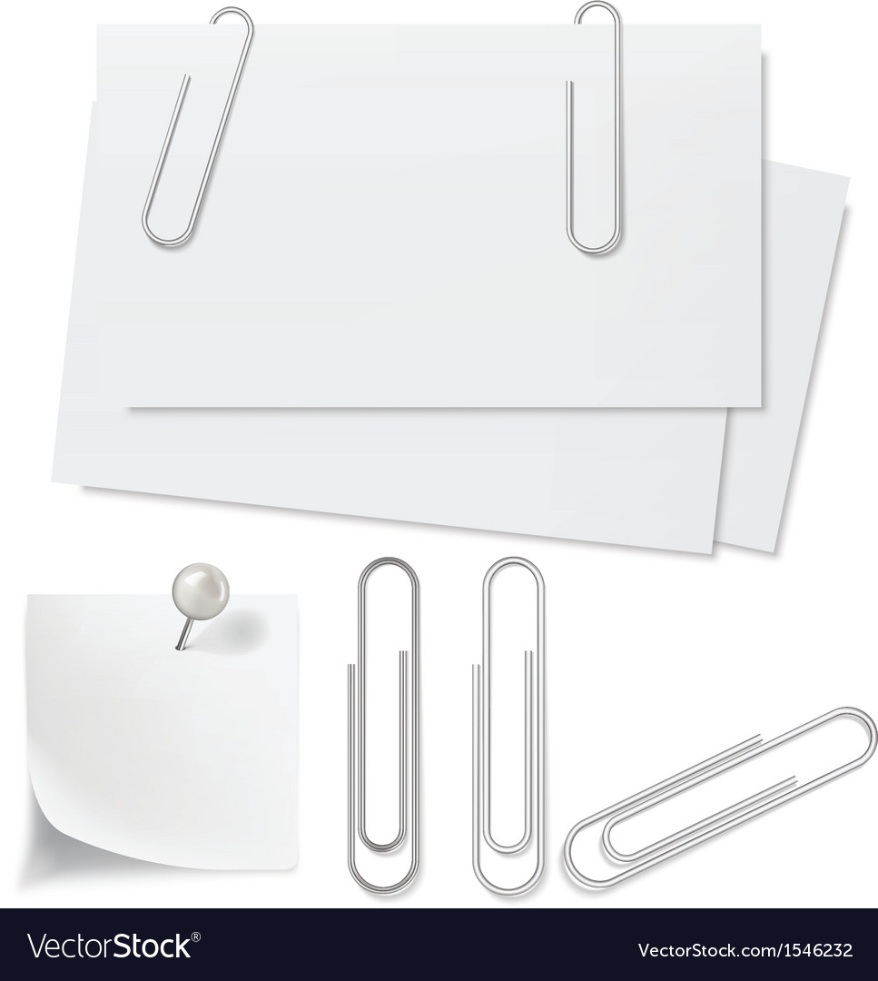 Blanks white paper pin and clip