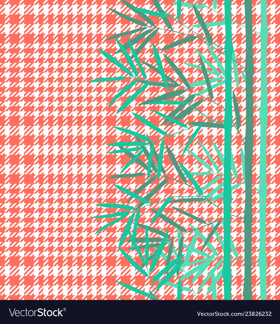 Check fashion seamless pattern with bamboo