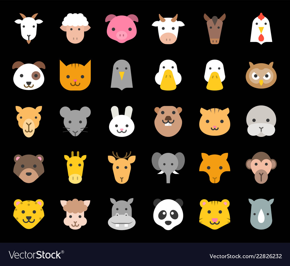 Cute animal face included farm forest and african