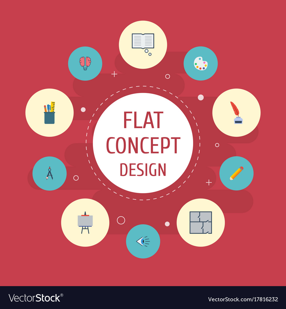Flat icons stand pen scheme elements set