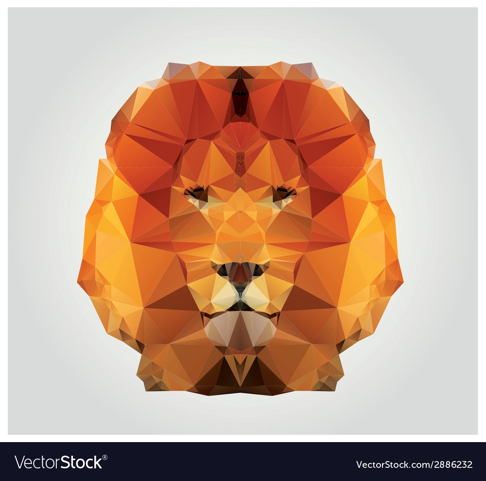 Geometric polygon lion head triangle pattern vector