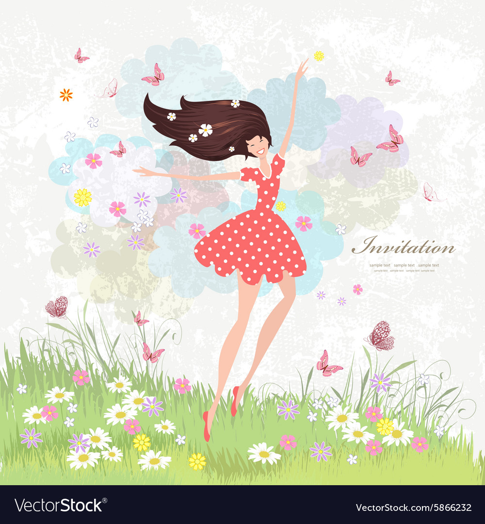 Happy girl on the floral meadow with pink