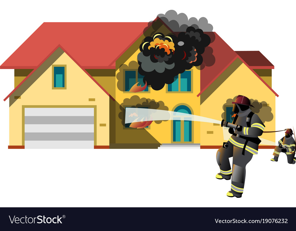 House On Fire With Fireman Royalty Free Vector Image