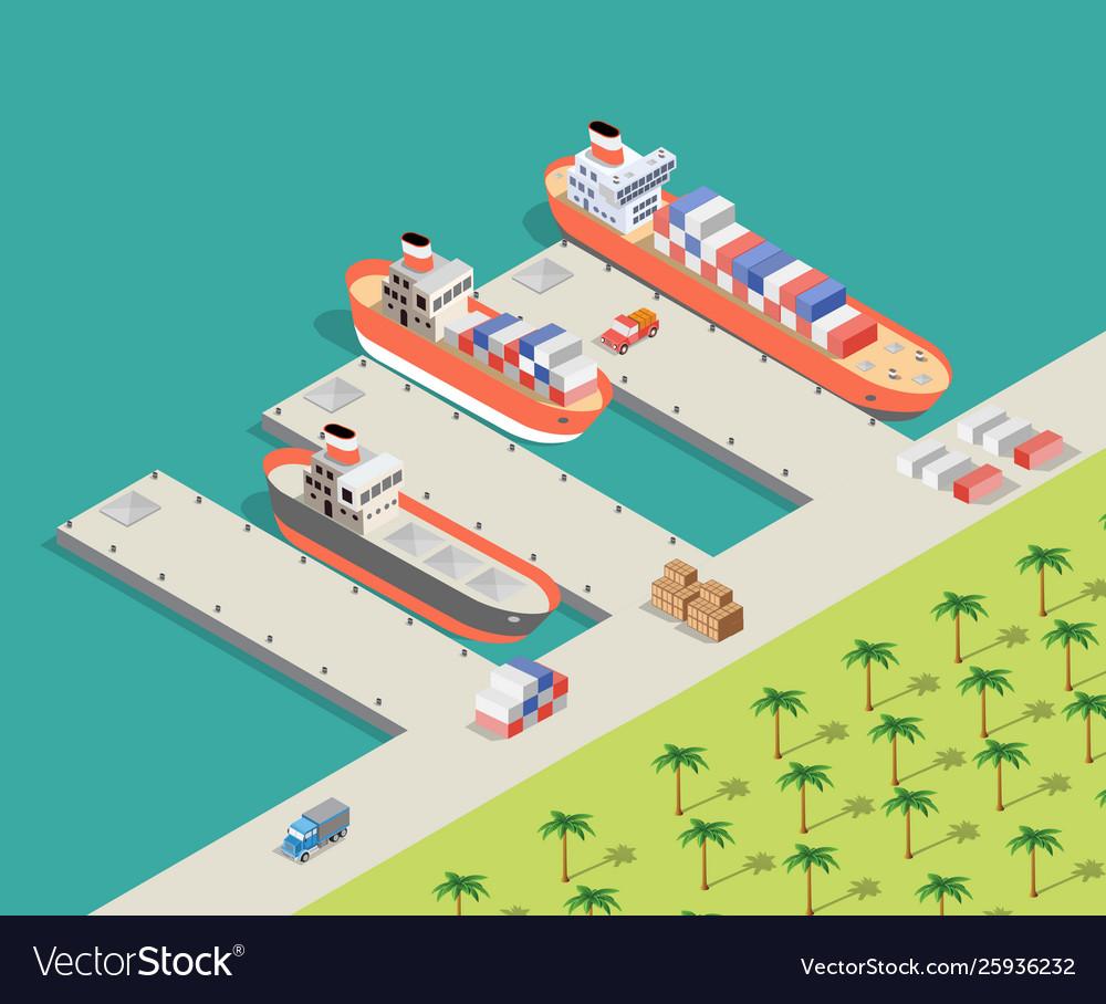 Isometric city industrial dock