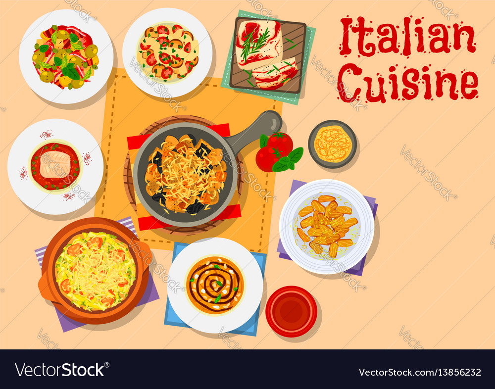 Italian cuisine icon with pasta soup and cake
