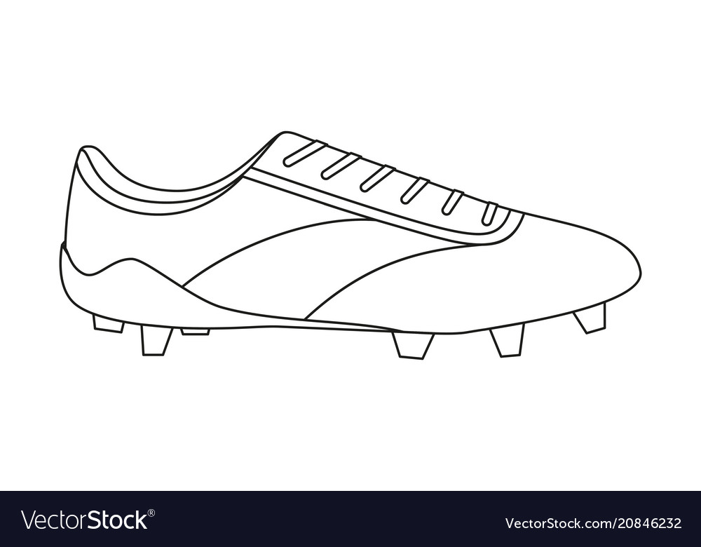 b0a563cbb85 Line art black and white soccer boots Royalty Free Vector