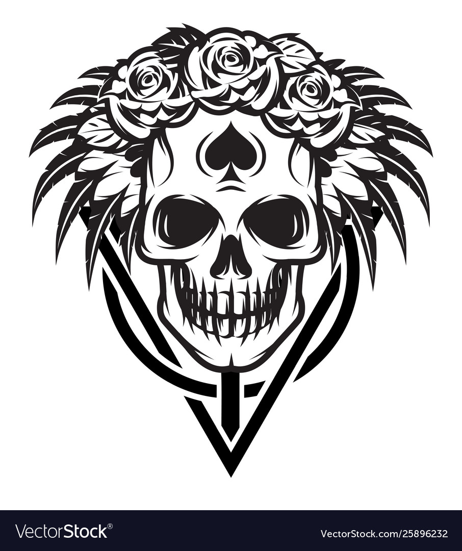 Monochrome with bride skull rose