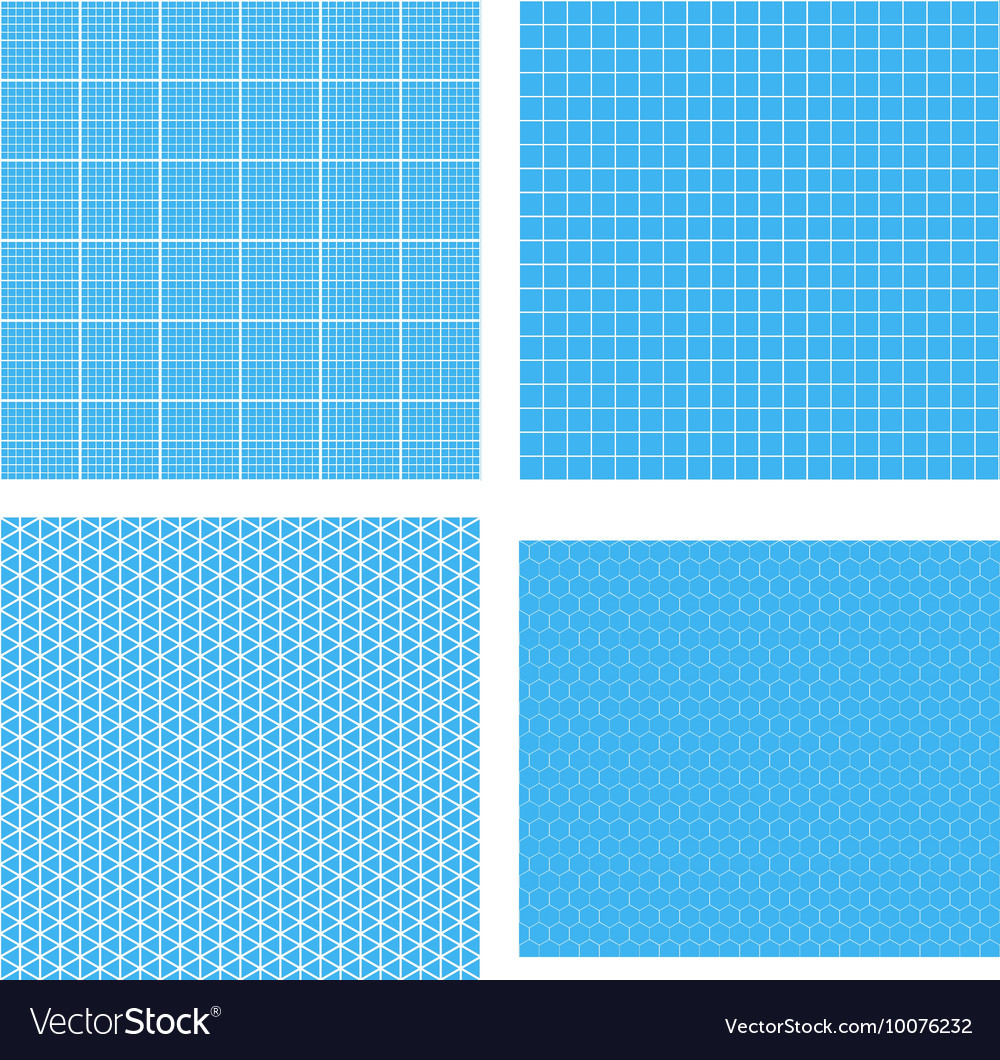 Set of four white geometric grids on cyan vector image