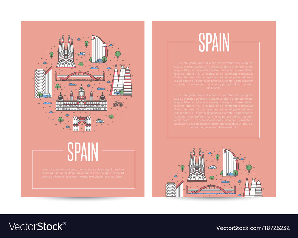 Spain traveling advertising in linear style vector image