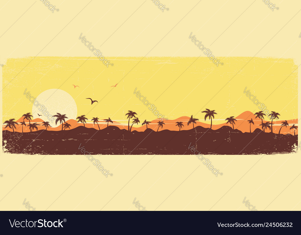 Tropical island paradise vintage background with