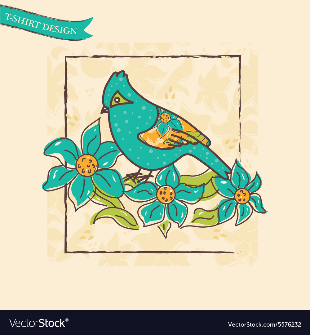 Vintage card with a bird and flowers