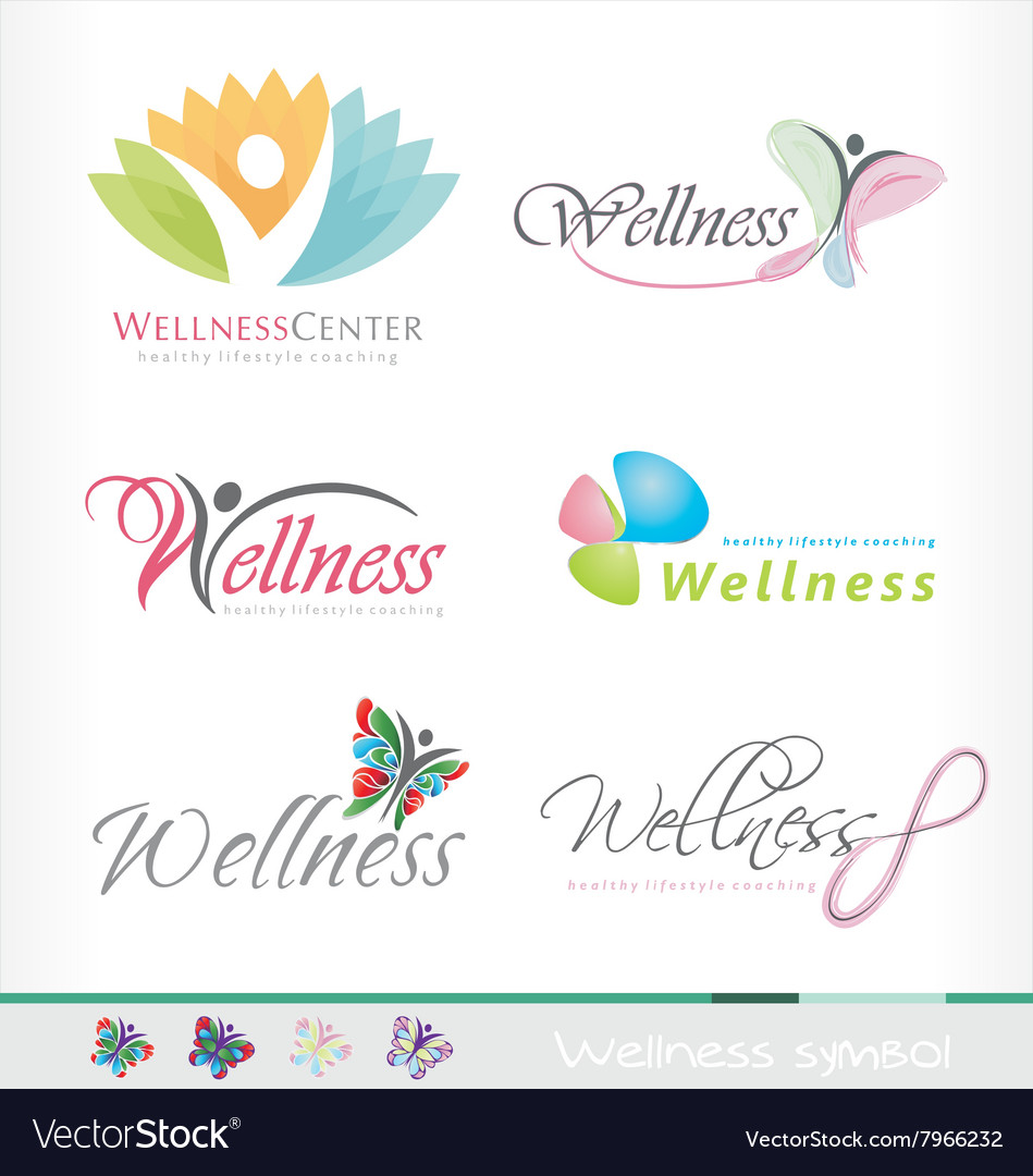 Spa wellness logo  Wellness logo spa symbol healthy style butterfly Vector Image