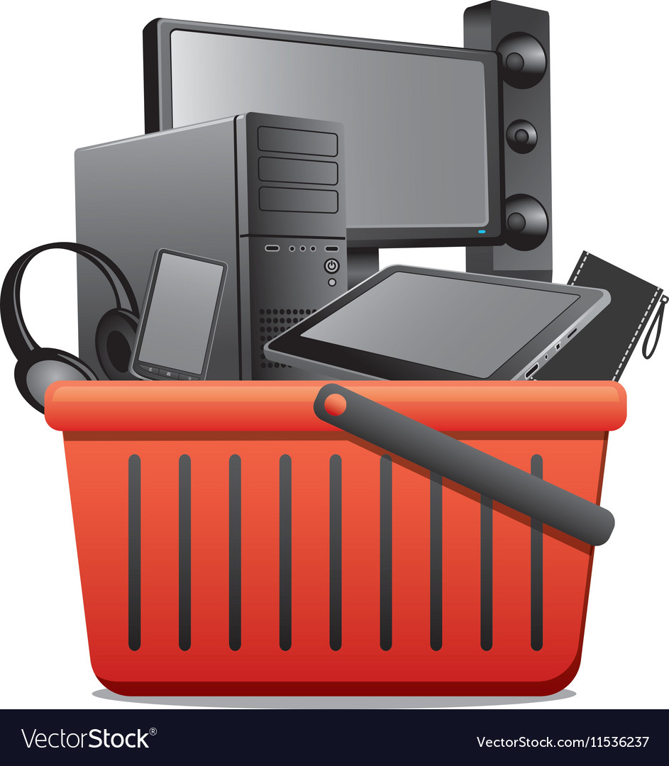 Basket with computer devices