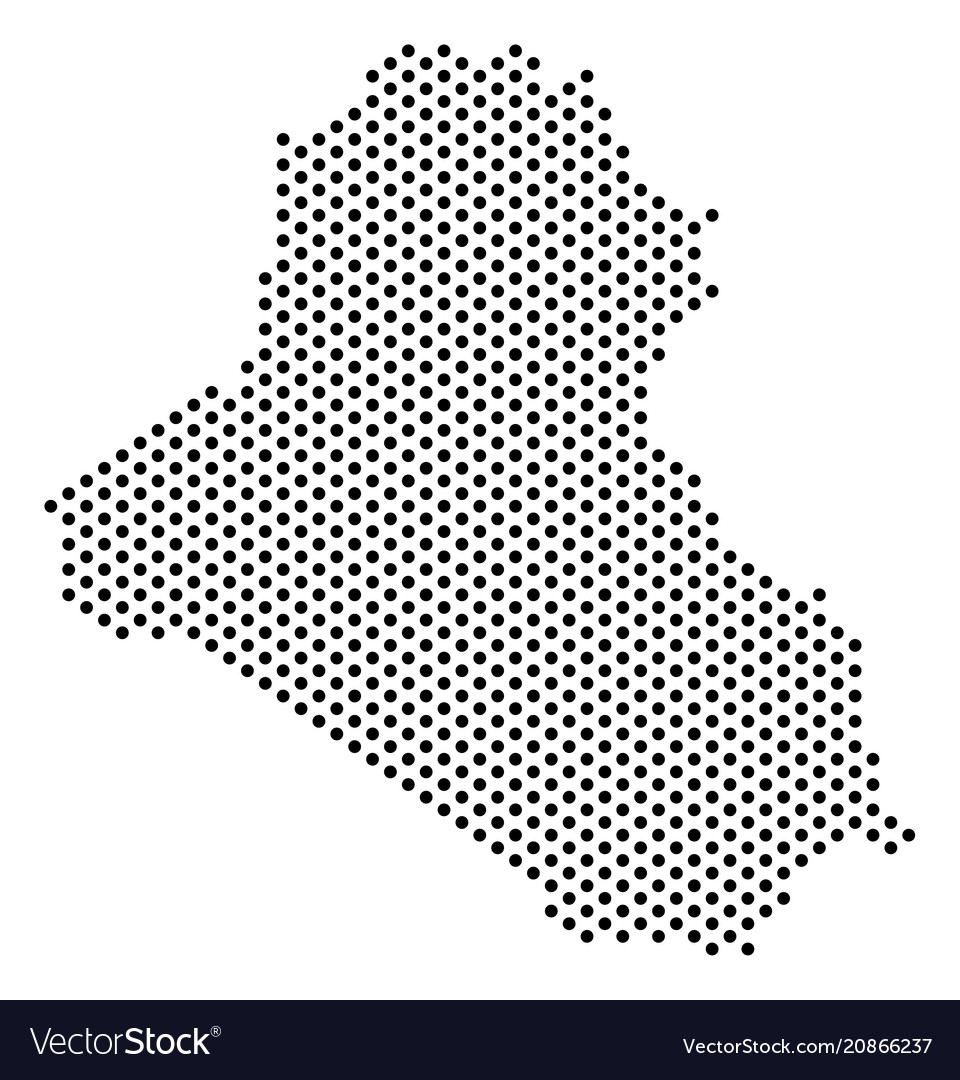 Dotted iraq map Royalty Free Vector Image VectorStock