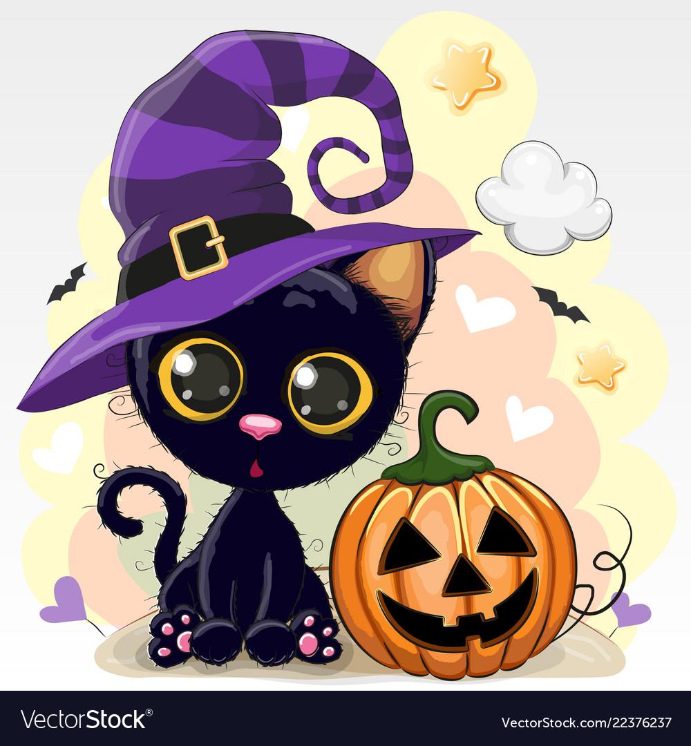Halloween of cartoon cat with pumpkin Royalty Free Vector