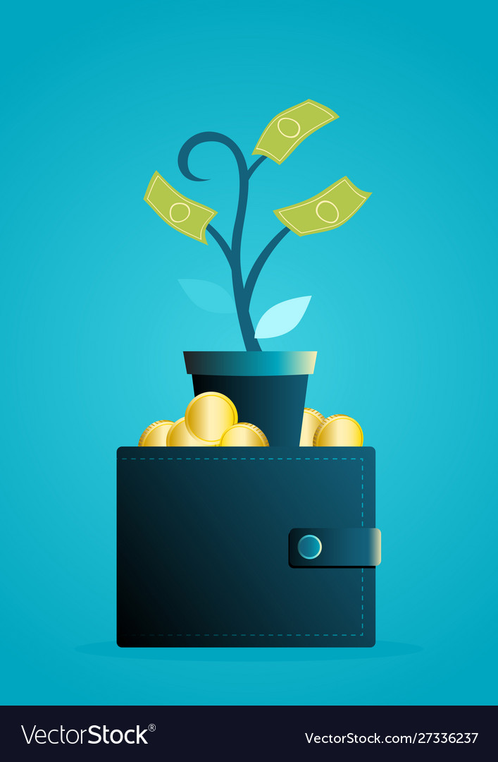 Money tree grows out wallet