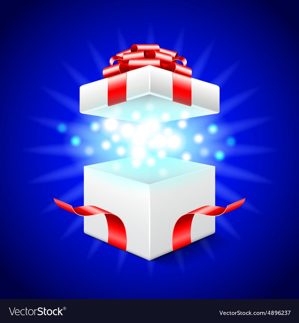 Opened gift box on blue background