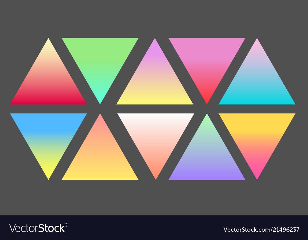 Set of gradient futuristic triangles set