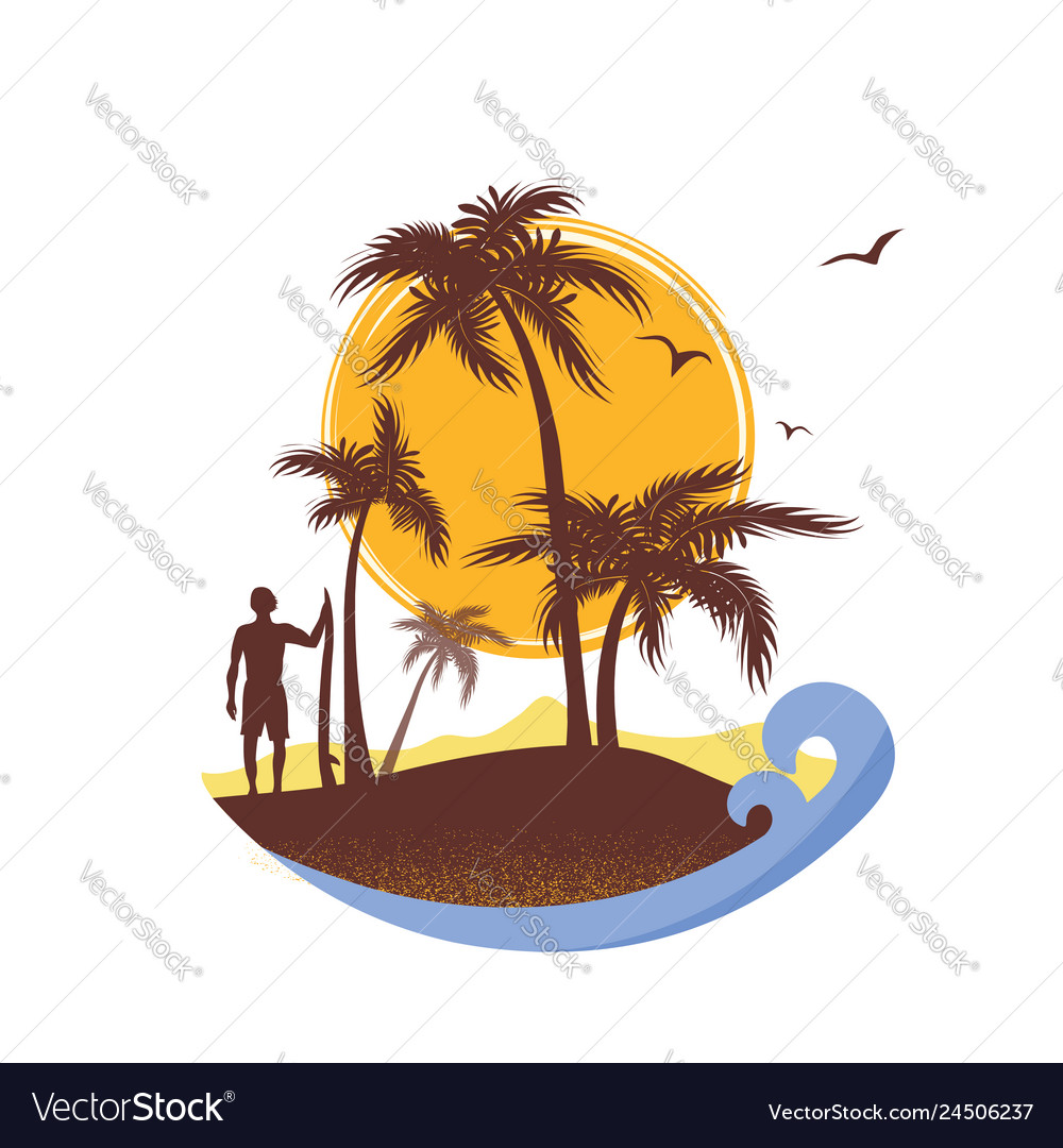 Surfer and sea waves tropical island poster