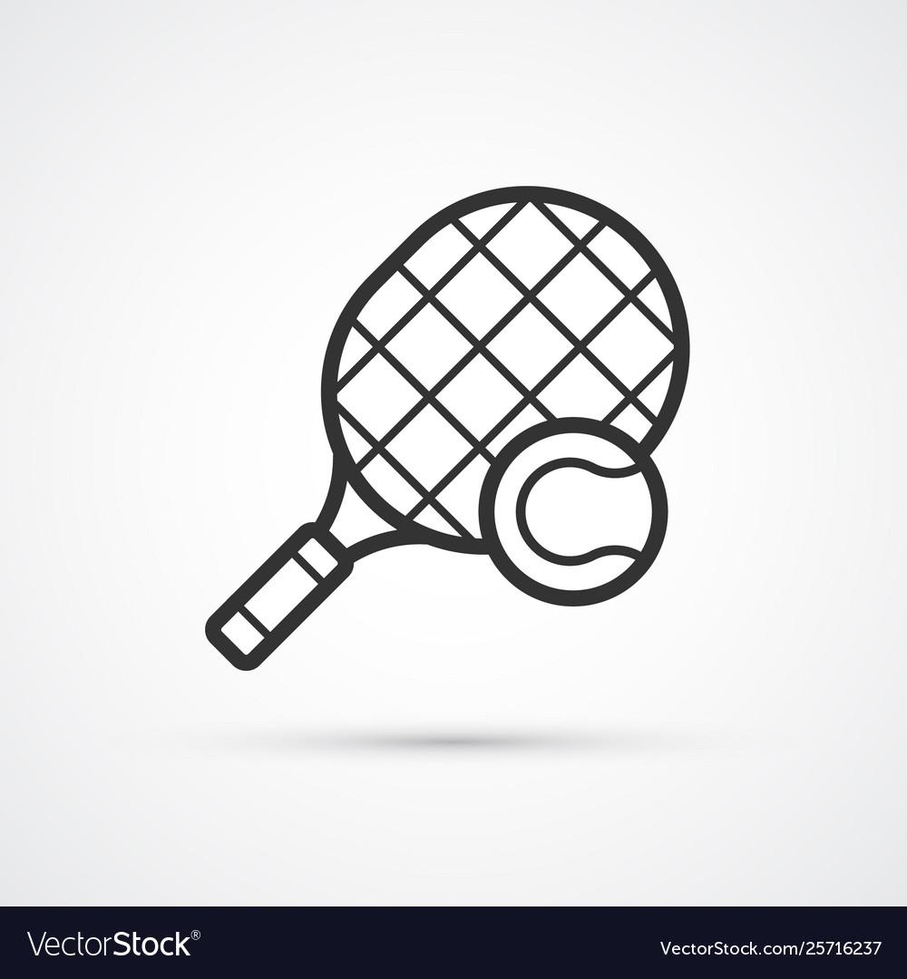 Tennis ball and racket black icon eps10