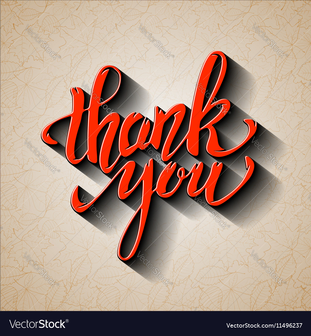 Thank You Hand drawn lettering with shadow effect